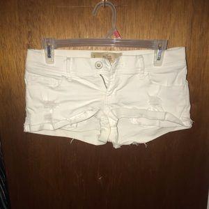 Hollister low rise white denim shorts